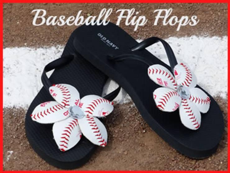 baseball flip flops flowers