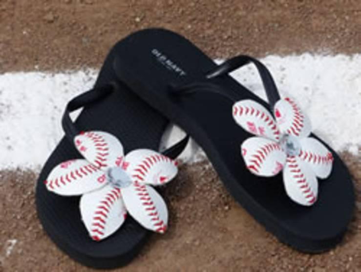baseball flower sandals