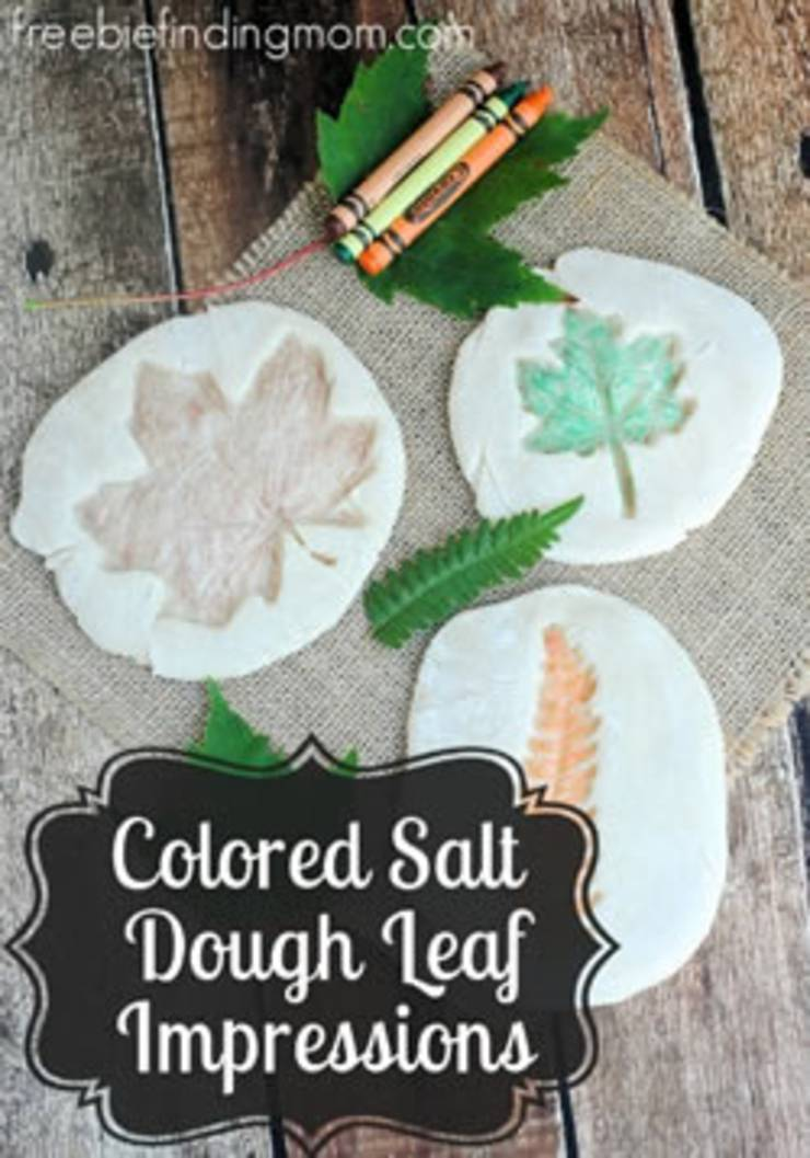 easy fall leaf crafts for kids colored salt dough leaf impressions