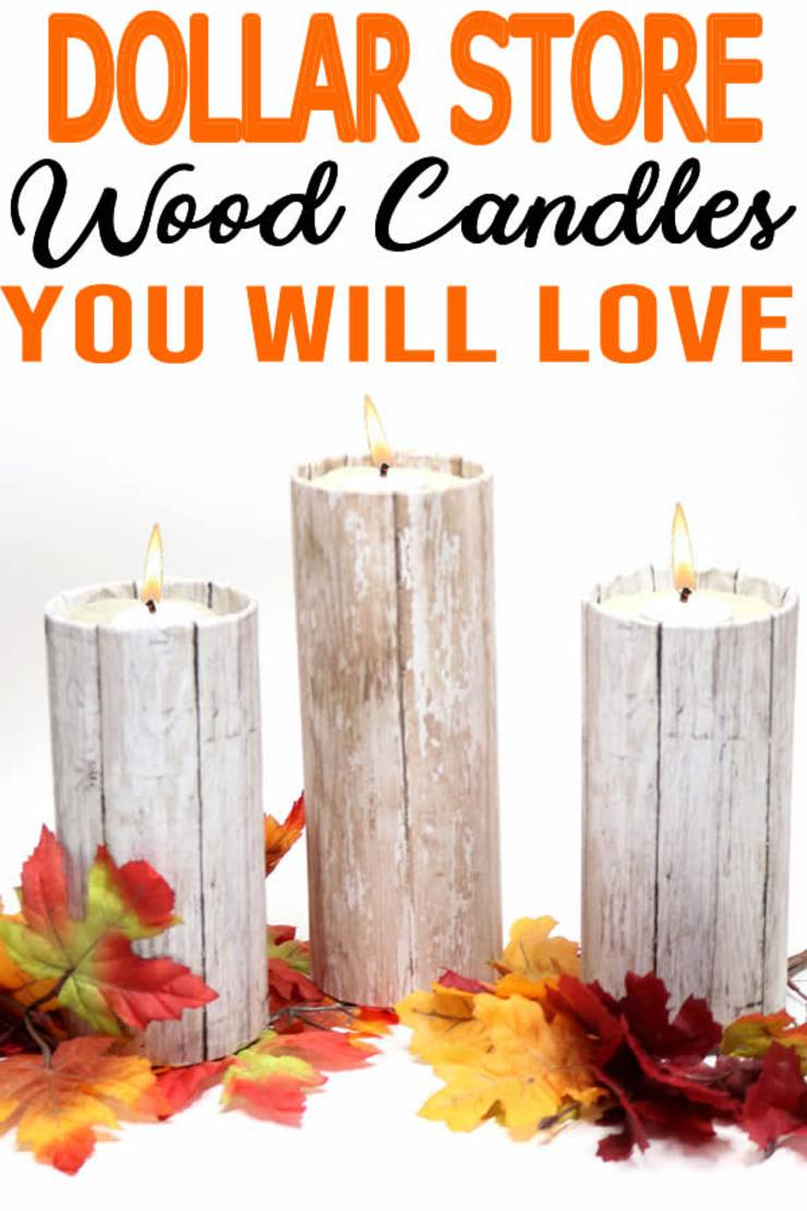 xDIY Dollar Store Crafts! Dollar Store Hacks – Decor Projects – Rustic Wood Candle Holders {Easy & Quick}