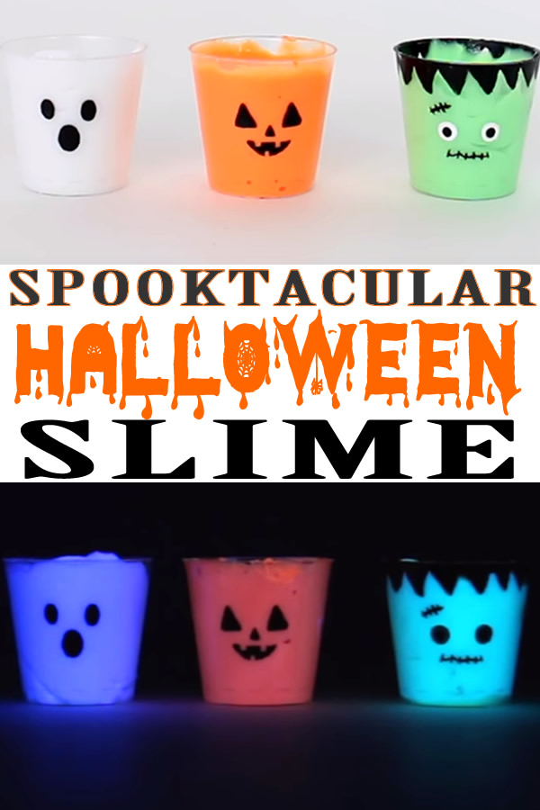 DIY Miniature Halloween Slime_How To Make Homemade Glow in the Dark Slime_Pumpkin - Ghost - Frankenstein