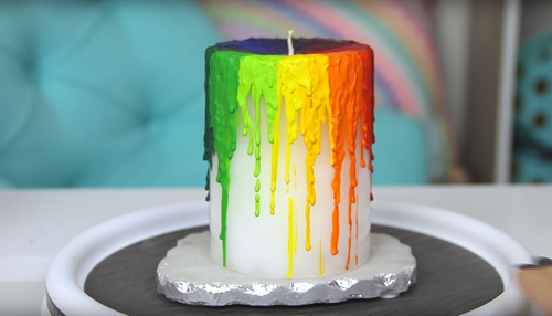 rainbow candle diy