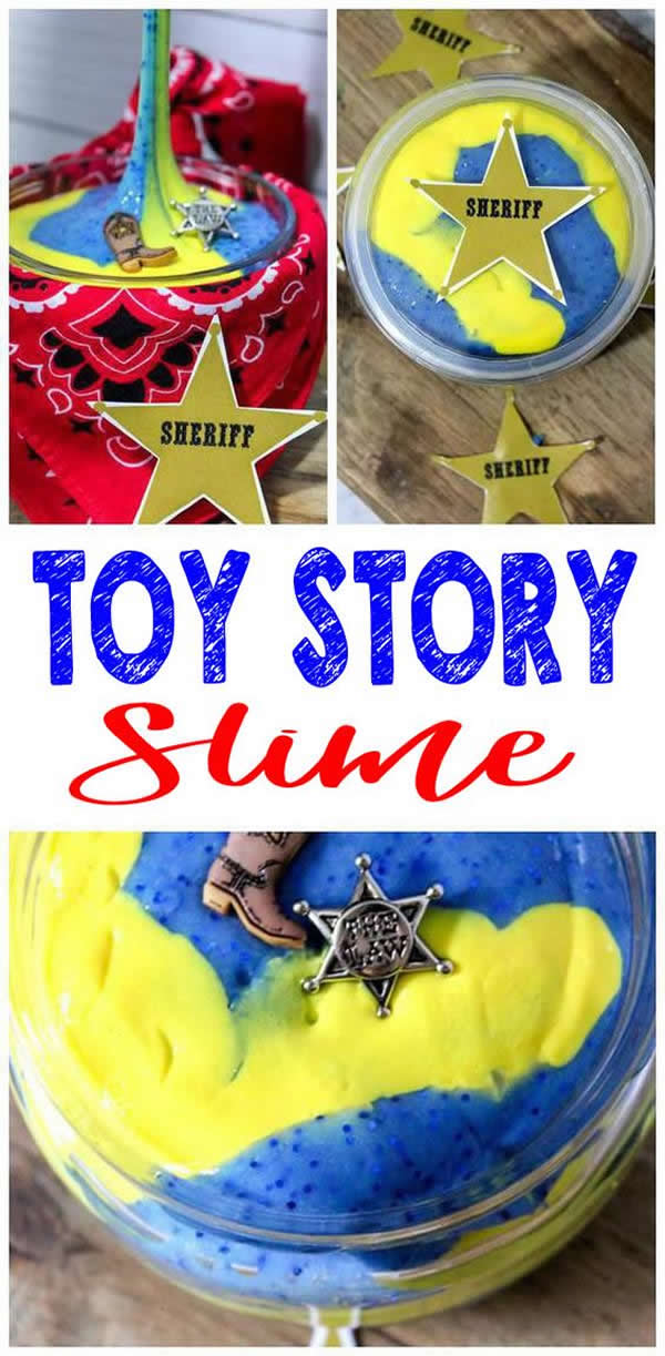 MOST amazing SLIME you CAN NOT stop playing with! DIY Toy Story slime recipe for the BEST Woody homemade slime. No borax slime that kids will love. Great for slime activity, play and sensory activity. Also great party favors and birthday party activity for slime theme party - Disney Toy Story theme party. Check out this Toy Story slime idea!