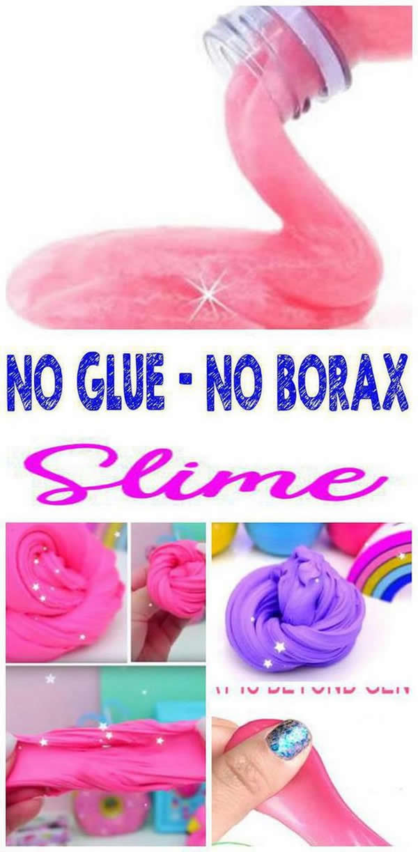 NO BORAX - NO GLUE slime EVERYONE loves! Find the BEST slime recipes with NO BORAX - NO GLUE that kids, teens and tweens WANT to make. Learn how to make slime different ways: No Borax, No Glue, No cornstarch, No Elmers glue slime, No contact solution slime, toothpaste slime and more. Step by step instructions, Youtube slime video tutorials and slime pictures - check out these fun stretchy, easy and simple slime ideas.