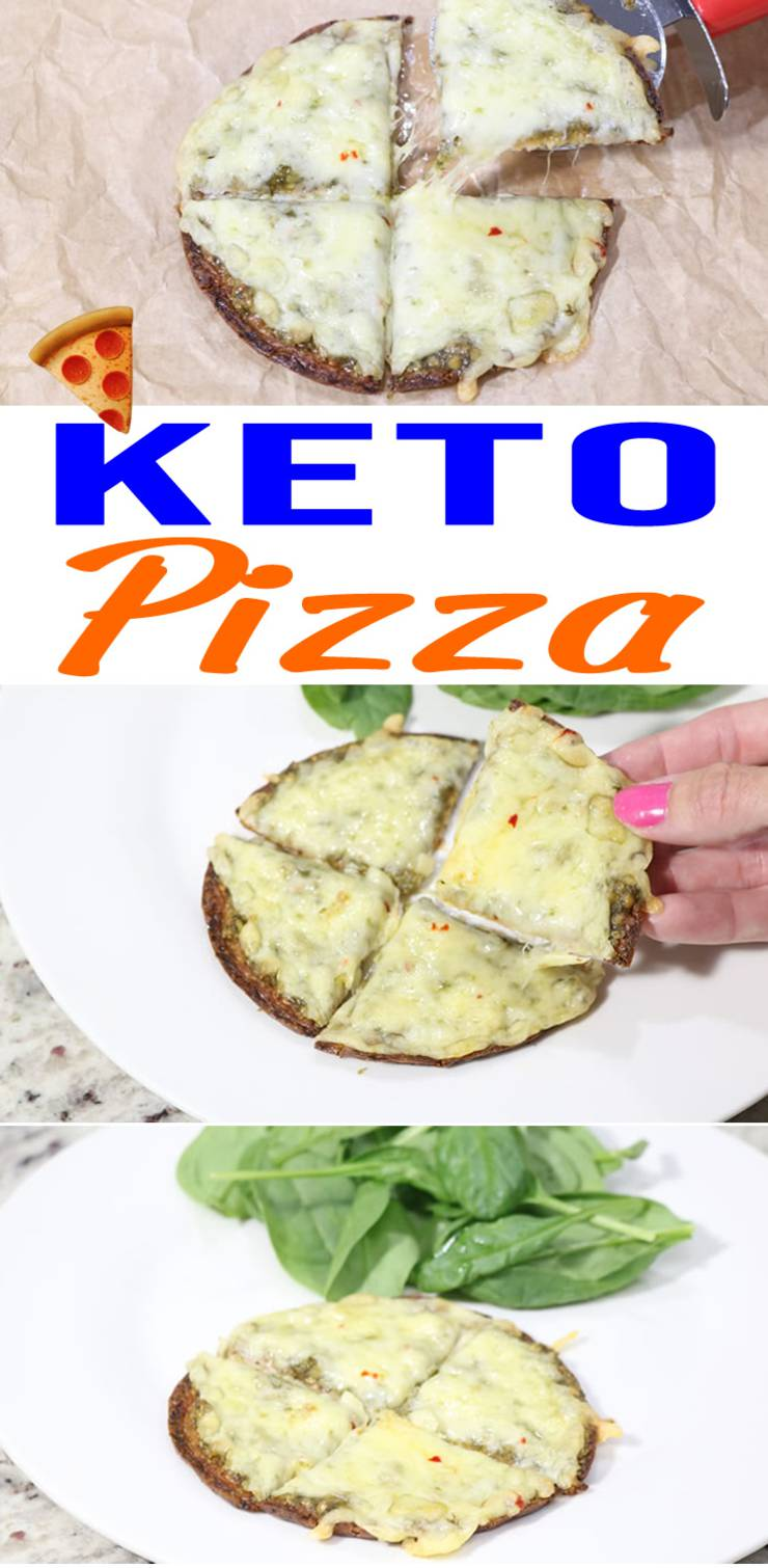 3 Ingredient Keto Pizza - The BEST Low Carb Pesto & Cheese Pizza Recipe - Super Easy - 10 Minute Keto Meal-1