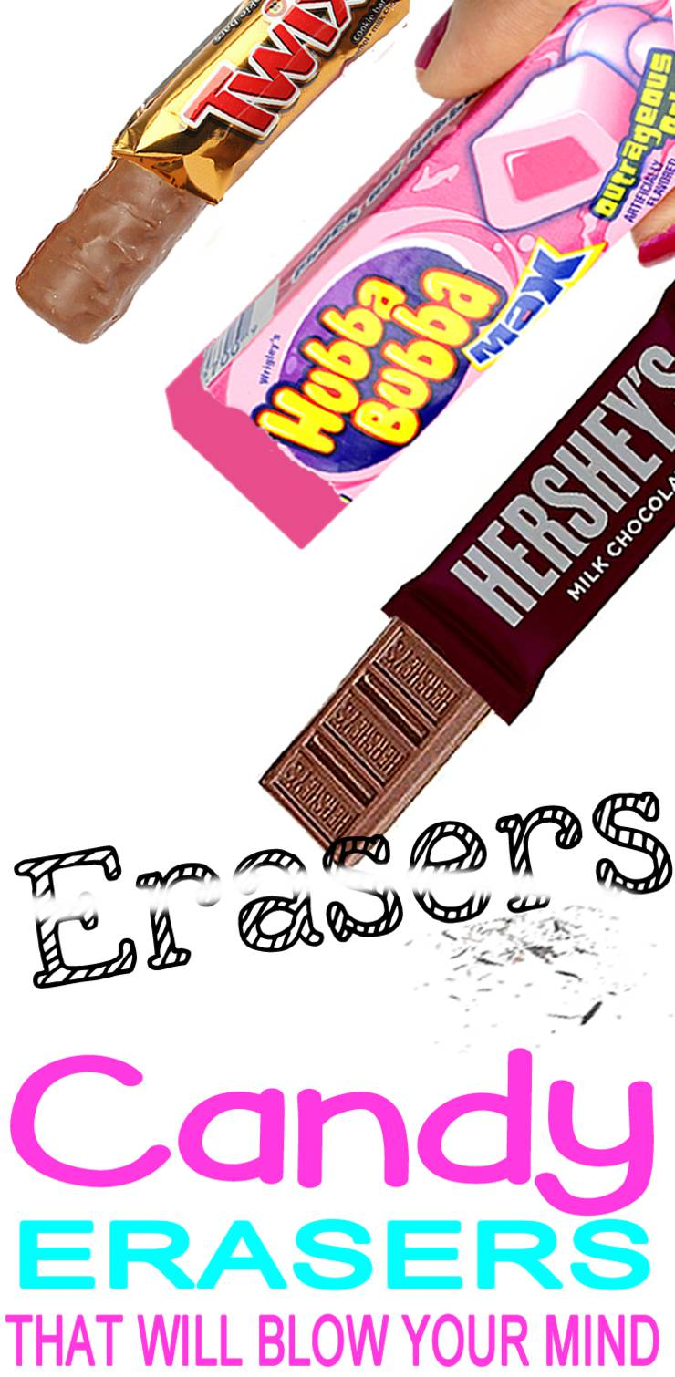 DIY Candy Erasers_DIY School Supplies Craft Ideas_candy wrapper crafts_candy hacks