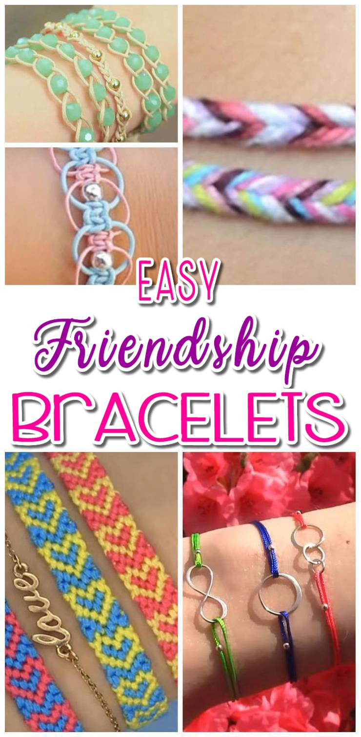 DIY-Friendship-Bracelets - How to make friendship bracelets - easy step by step instructions. Patter bracelets & more with string, beads and charms. Great for tutorial beginners - DIY bracelets for kids, teens, tweens and adults!