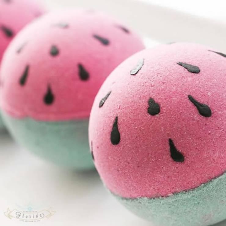 DIY watermelon bath bombs for kids