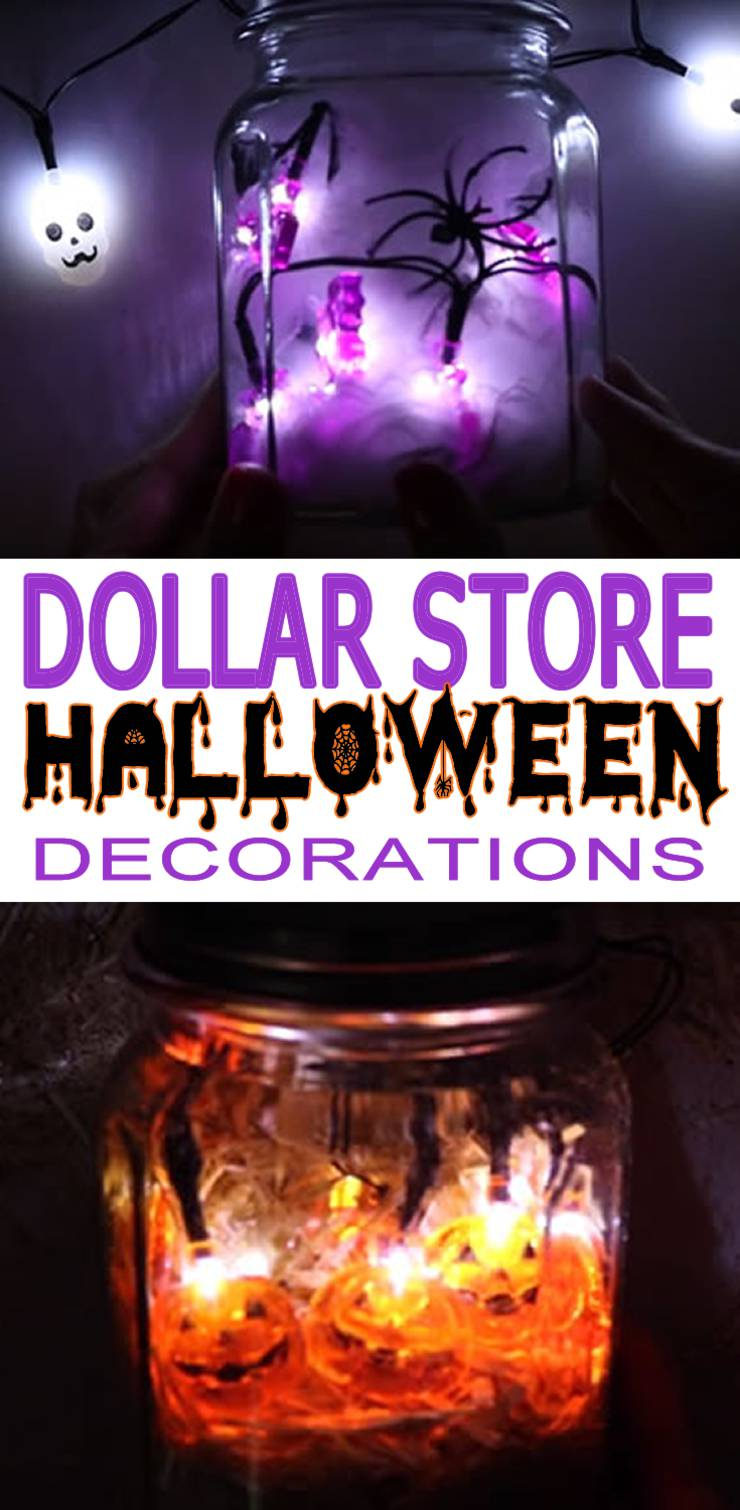 Dollar Store Halloween Decorations - Easy DIY & Scary Mason Jar Lights - Simple & Creepy Ideas - Halloween Party