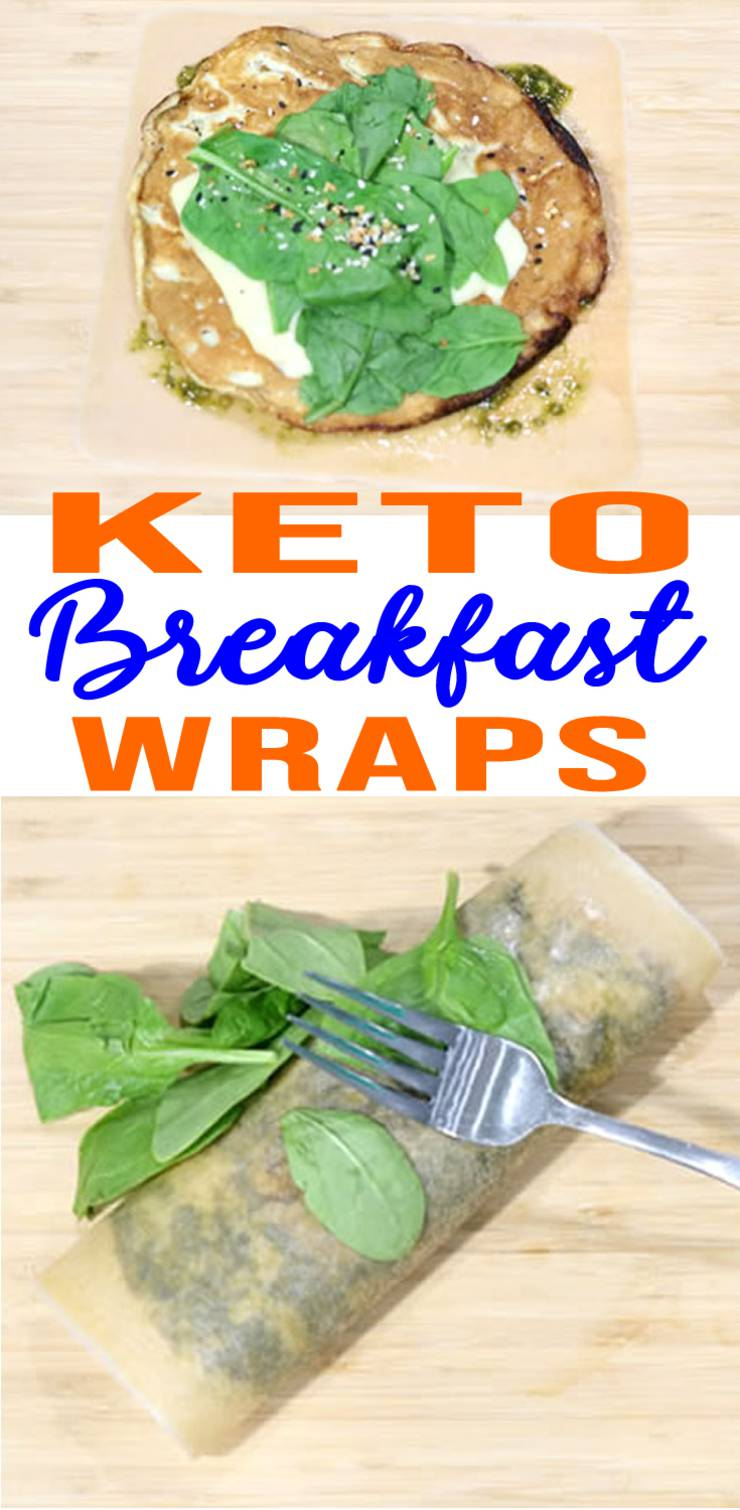 Keto breakfast recipe! Easy low carb egg wraps - yummy keto egg wraps using low carb coconut tortilla wraps. Delicious keto wrap recipe that you can make in under 10 minutes. 5 indgredient keto dinner or breakfast idea.