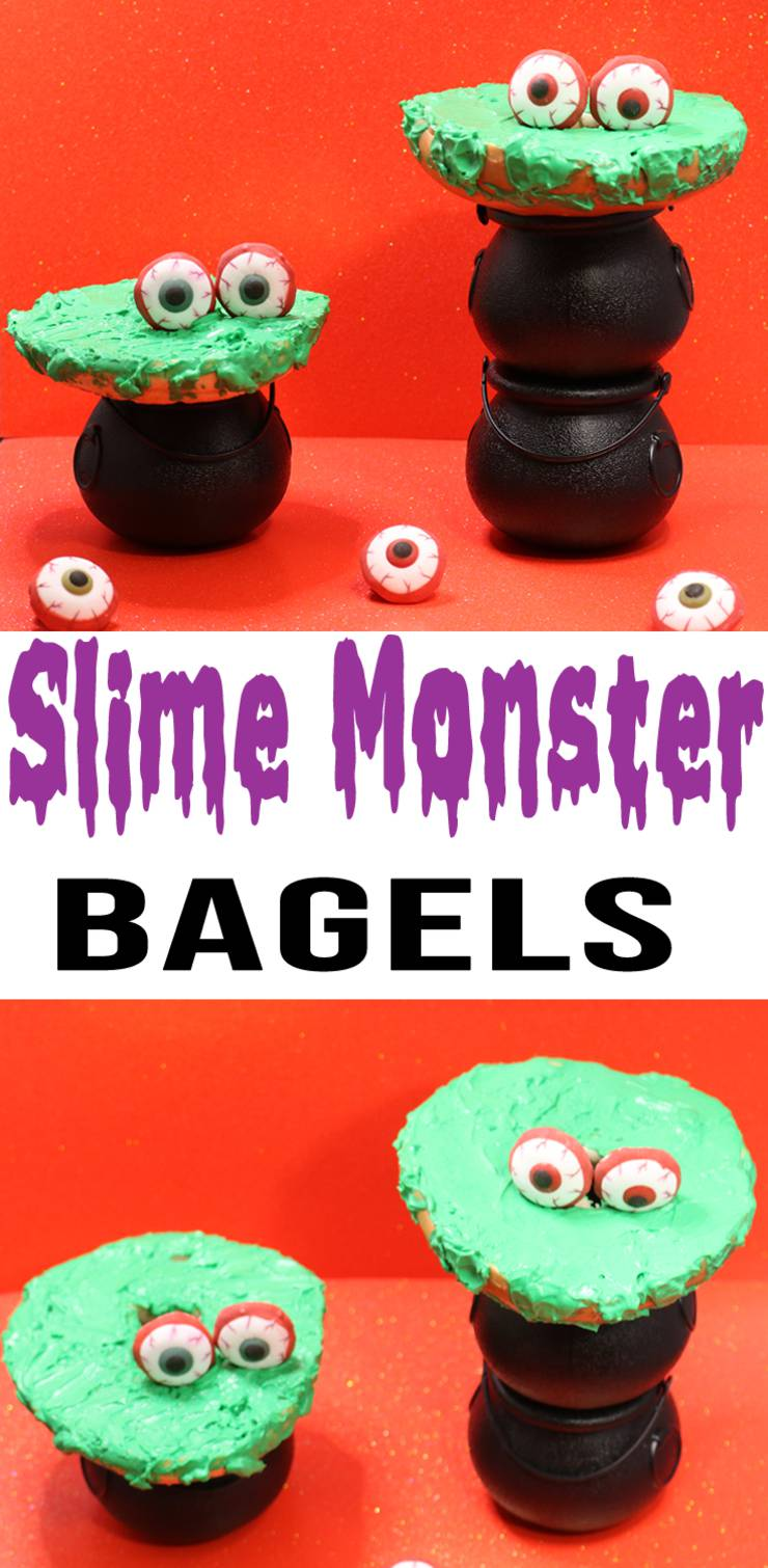 Slime Monster Treats - Halloween Breakfast Ideas - Bagel Ideas For Breakfast - Easy Bagel Toppings