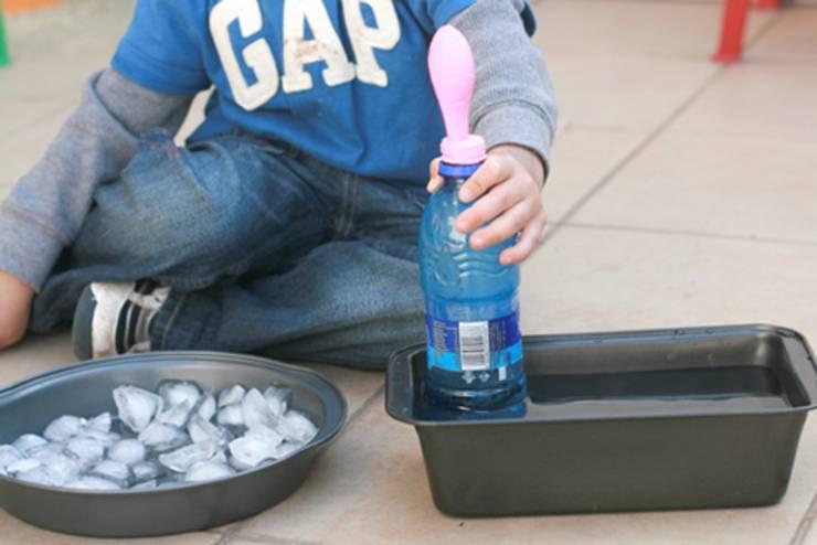 air pressure balloon science experiment for preschool kids
