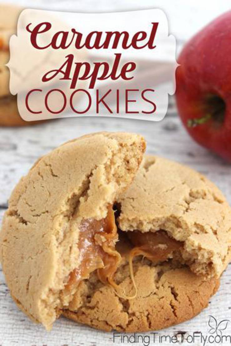 Caramel Apple Cookies! Delicious Caramel Apple Dessert - Simple & Easy Recipes For Fall Treats & Parties Families & Kids Will Love