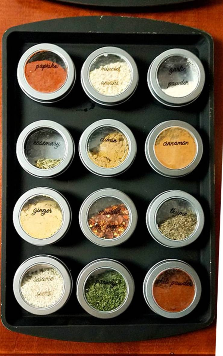 diy-magnetic-dollar-store-hack_spice-rack-single-rack-hanging - DIY Dollar Store Hacks   Organization & Storage Ideas - DIY Projects For Home
