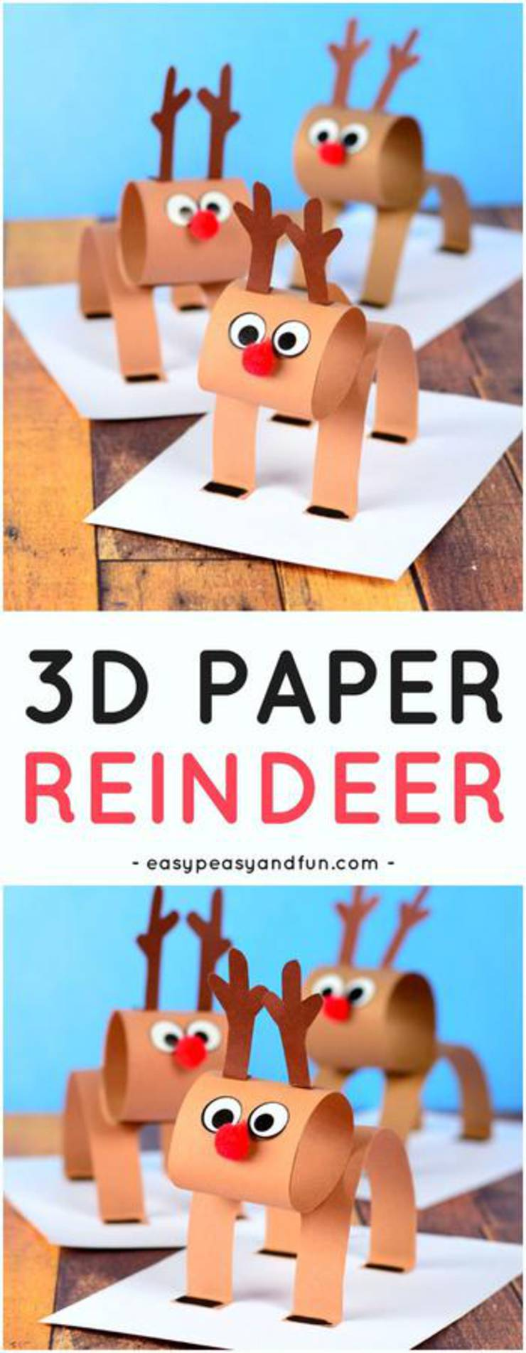 3D Construction Paper Reindeer