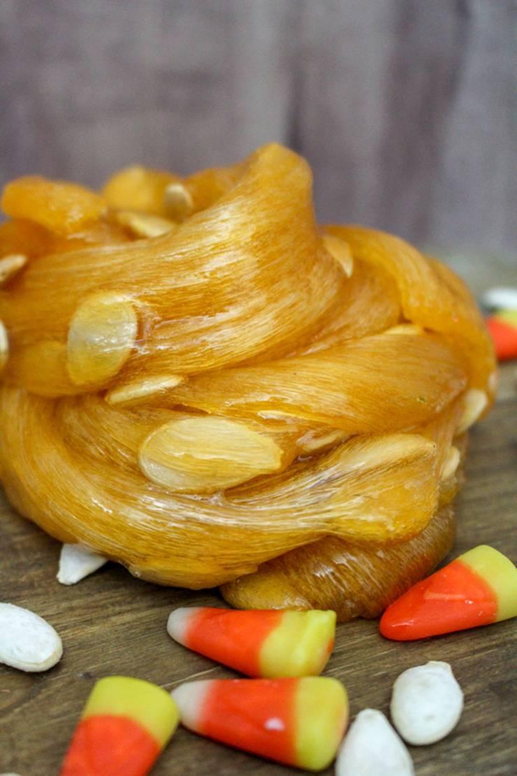 DIY Pumpkin Slime - Pumpkin Guts Slime - Homemade Slime