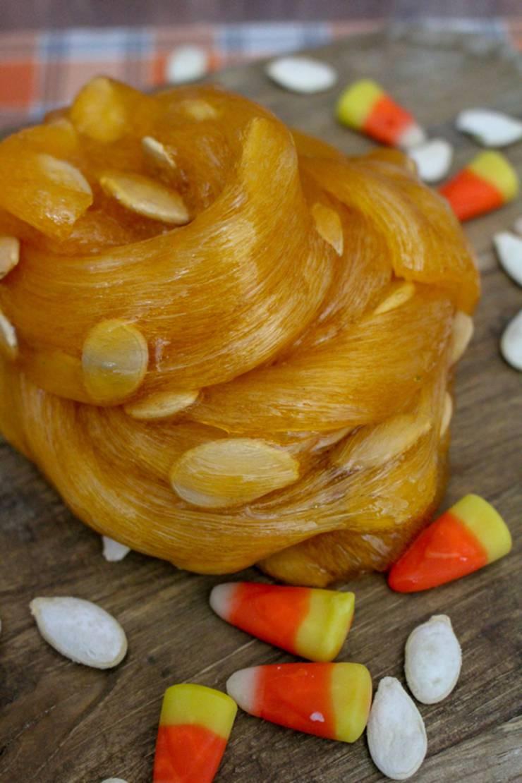 DIY Pumpkin Guts Slime - Pumpkin Slime