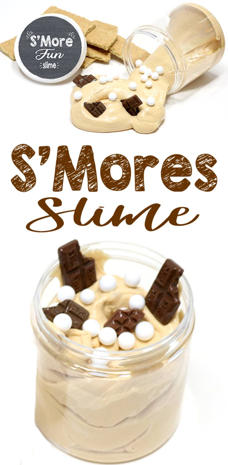 DIY Smore Slime-No borax Sllime- DIY fluffy slime - sensory activity for kids