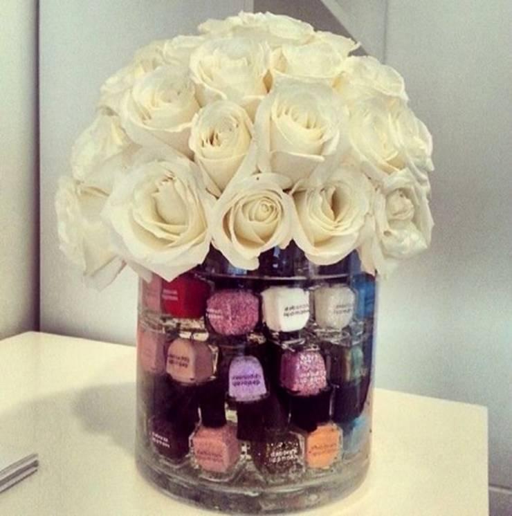 DIY nail polish bottle craft flower vase