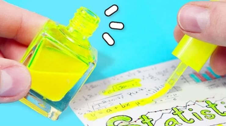 DIY nail polish bottle highligher_diy school supplies