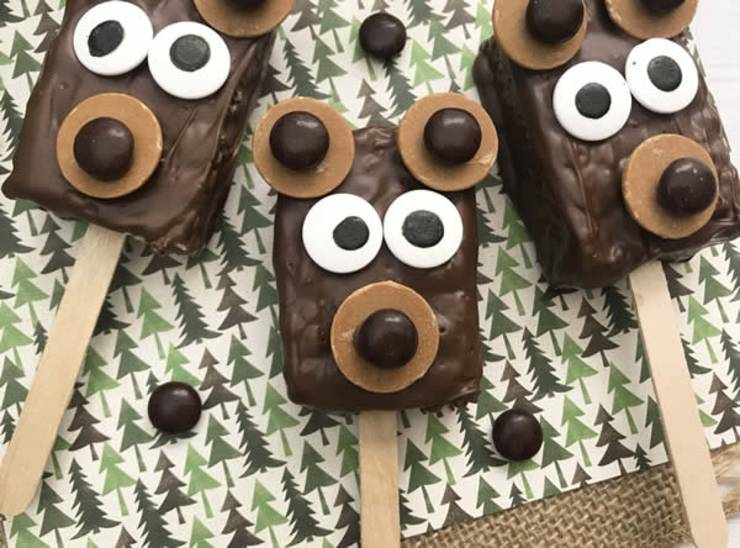 BEST Rice Krispie Treats! EASY Bear Rice Krispie Treats On A Stick Idea - Cute - Simple Chocolate - Decorated - Fun - Food - Snacks - Kids - Holiday - Christmas - Birthday - Parties-7