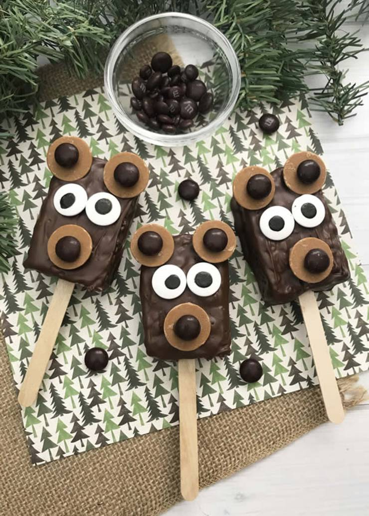 BEST Rice Krispie Treats! EASY Bear Rice Krispie Treats On A Stick Idea - Cute - Simple Chocolate - Decorated - Fun - Food - Snacks - Kids - Holiday - Christmas - Birthday - Parties-8