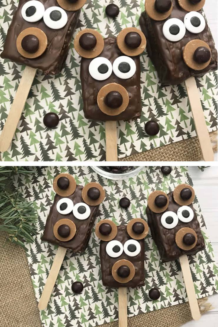 BEST Rice Krispie Treats! EASY Bear Rice Krispie Treats On A Stick Idea - Cute - Simple Chocolate - Decorated - Fun - Food - Snacks - Kids - Holiday - Christmas - Birthday - Parties