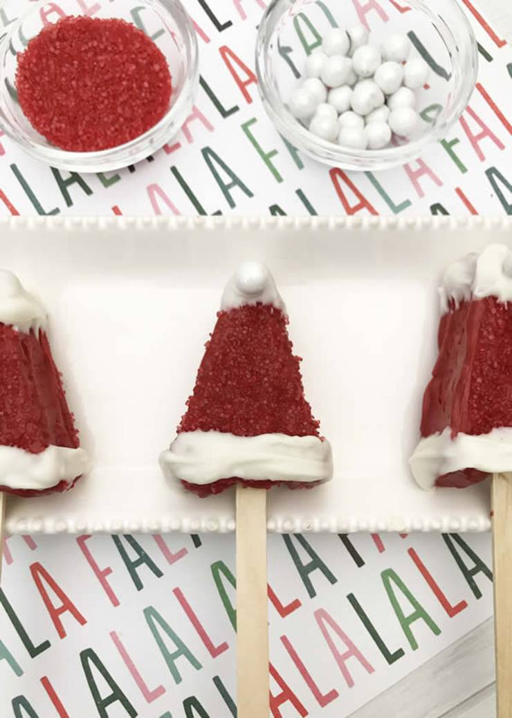 BEST Rice Krispie Treats! EASY Santa Hat Rice Krispie Treats On A Stick Idea – Cute – Simple Chocolate – Decorated – Fun – Food – Snacks – Kids – Holiday – Christmas – Parties