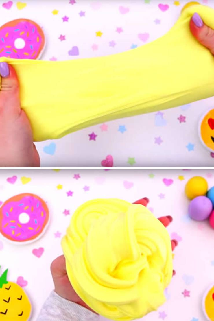 DIY Fluffy Slime Recipe_How To Make Homemade Cake Batter Slime Without Borax - Slime Ideas For Kids - Parties - Crafts_Easy Slime Recipe With Video