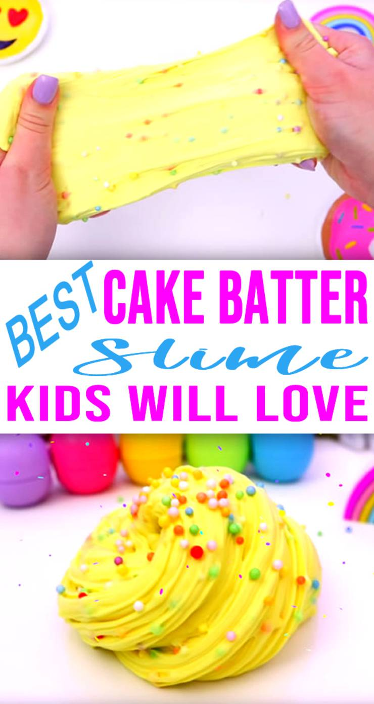 DIY Fluffy Slime Recip_How To Make Homemade Cake Batter Slime Without Borax - Slime Ideas For Kids - Parties - Crafts_Easy Slime Recipe With Video