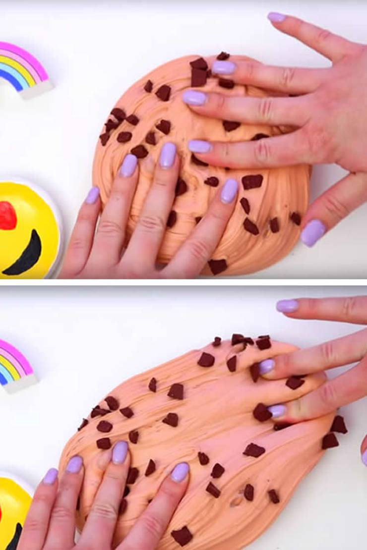 DIY Fluffy Slime Recipe_How To Make Homemade Chocolate Chip Cookie Dough Slime Without Borax - Slime Ideas For Kids - Parties - Crafts_Easy Slime Recipe With Video