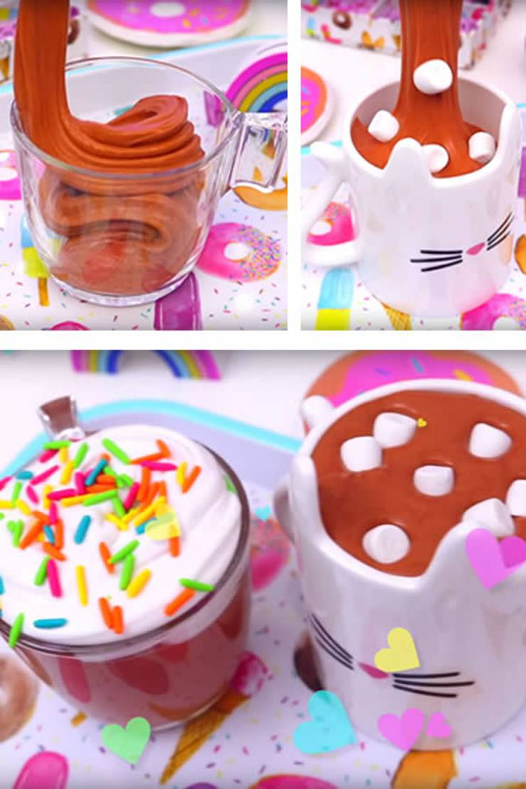 DIY Fluffy Slime Recipe_How To Make Homemade Hot Chocolate Marshmallow - Whipped Cream Slime Without Borax - Slime Ideas For Kids - Parties - Crafts_Easy Slime Recipe With Video