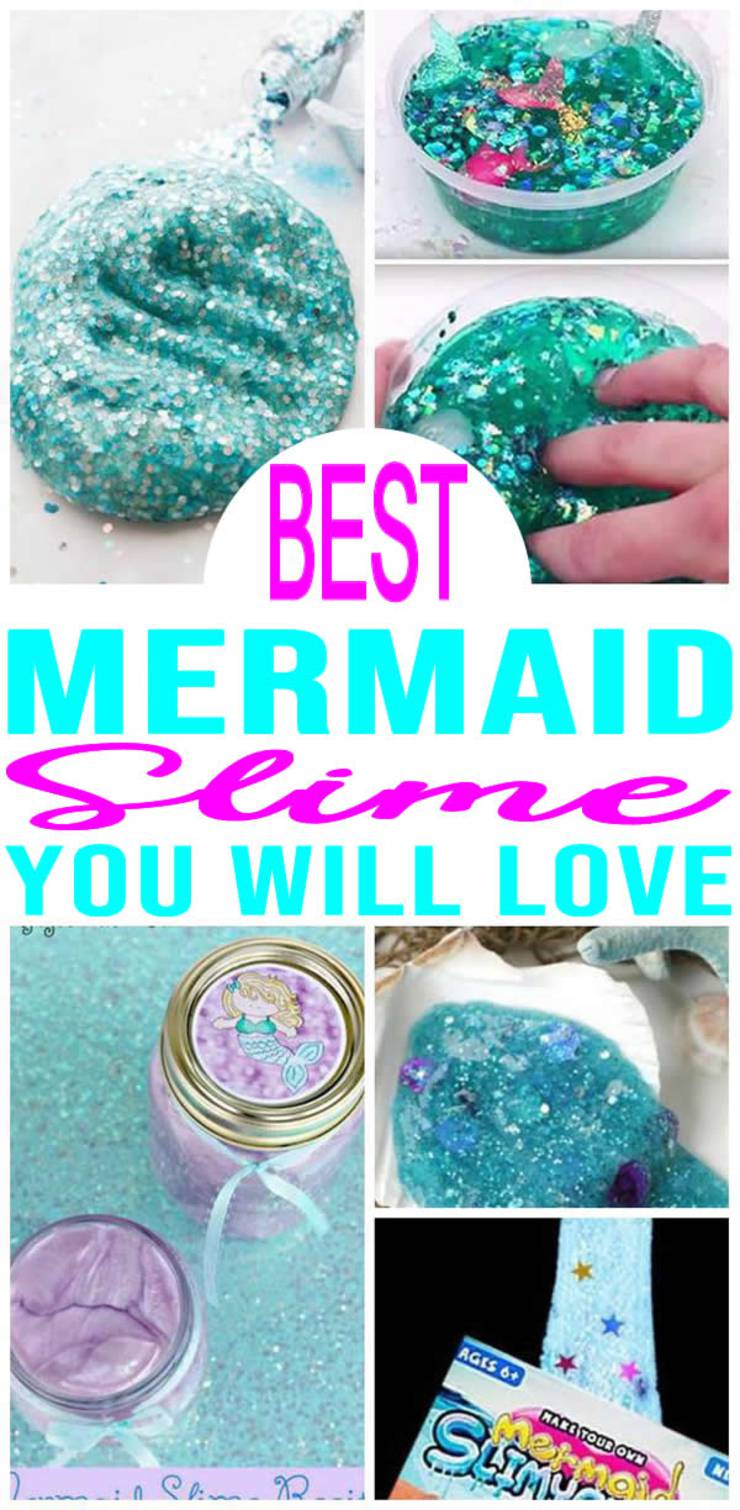 BEST Mermaid Slime Recipes! Easy Slime Ideas - DIY - How To Make - Quick & Simple Homemade Mermaid Slime - Fluffy - Glitter - Kids Birthday Party Favors