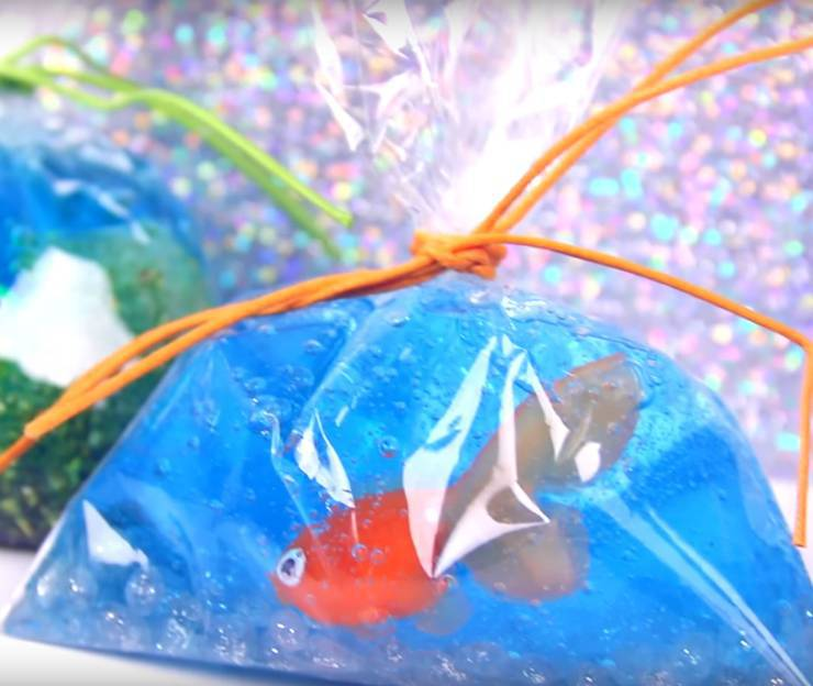 DIY fish slime - homemade fish in bag slime