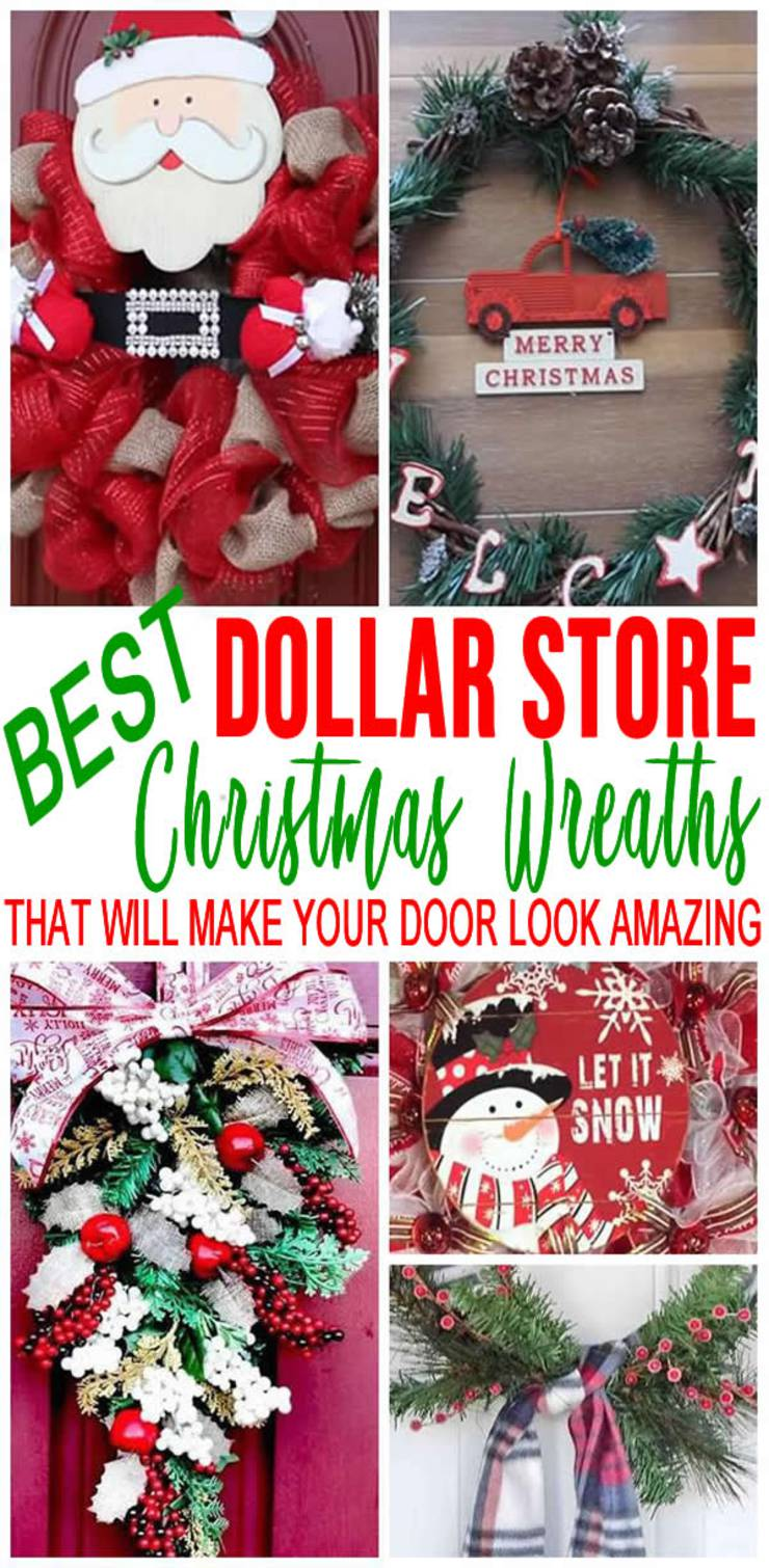 BEST Dollar Store Christmas Wreath! DIY Holiday Wreath Ideas - Learn How To Make Wreaths To Make Your Front Door Look Amazing - Dollar Store Hacks - Homemade Christmas Decor