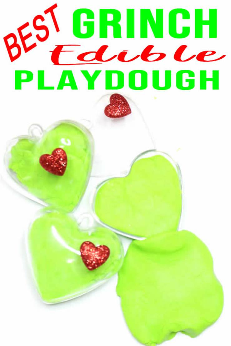 Grinch Crafts_How To Make Edible Playdough_ Easy DIY Edible Playdough Recipe No Cook - Christmas DIY Idea For Kids _ Grinch Party Favors