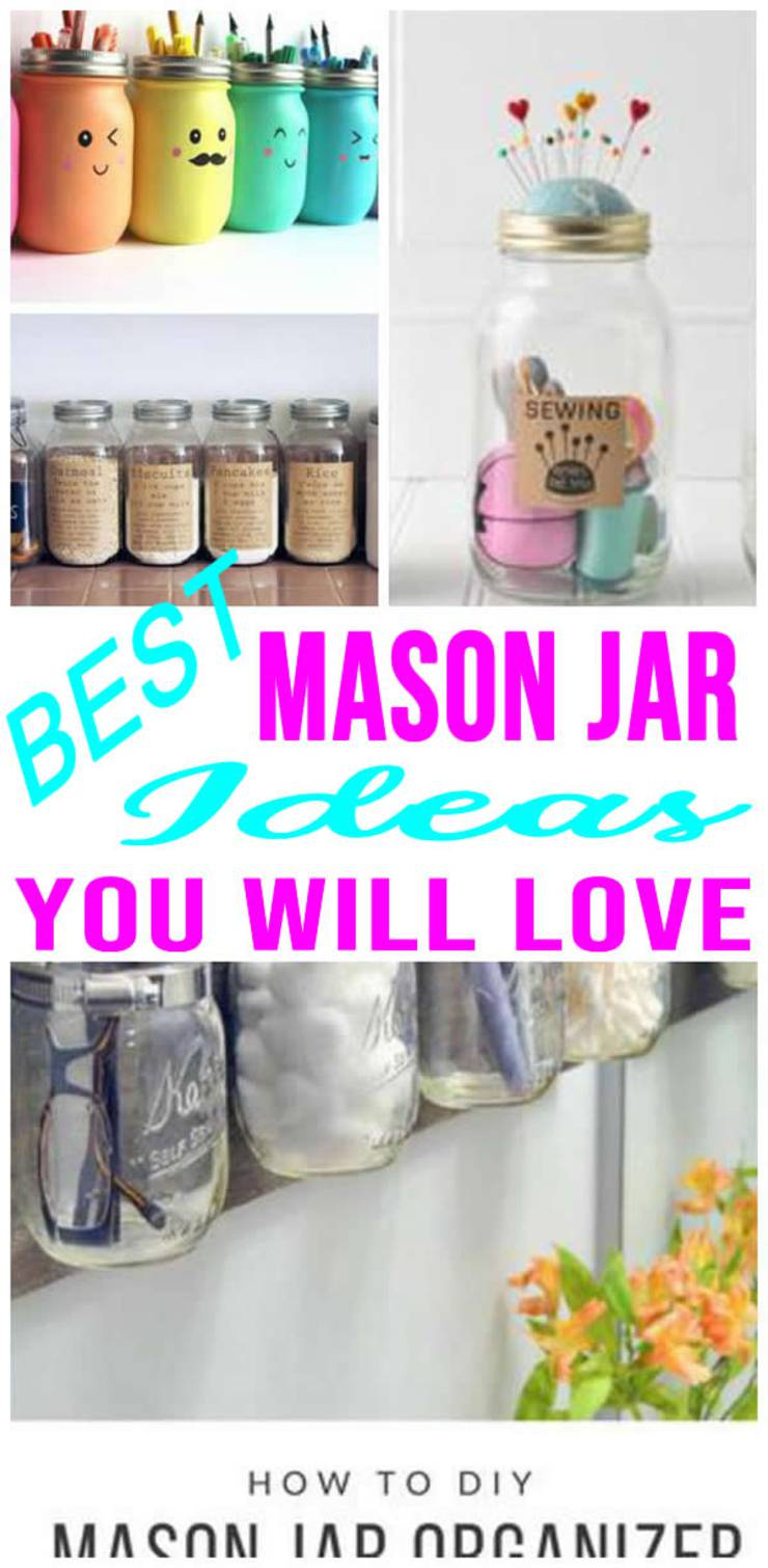 BEST DIY Mason Jar Ideas! EASY & SIMPLE Mason Jar Organization Tutorials - Craft Rooms - Makeup Brushes - Kitchen - Bathroom - Sewing- Awesome - Creative Craft Projects