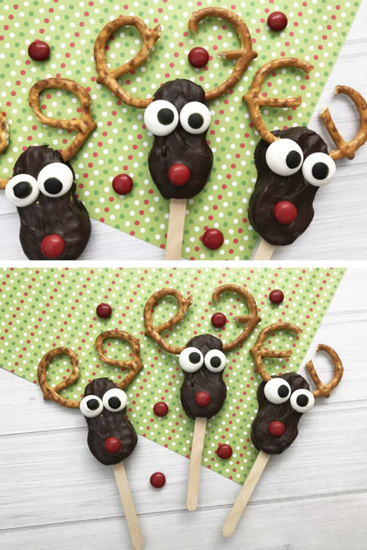 Reindeer Cookies! Easy Nutter Butter Reindeer Cookie Idea-Rudolph The Red Nosed Reindeer Decorated Cookie-Cute & Simple Chocolate-Sweet Treats-Snacks-Holiday Cookies-Kids-Parties
