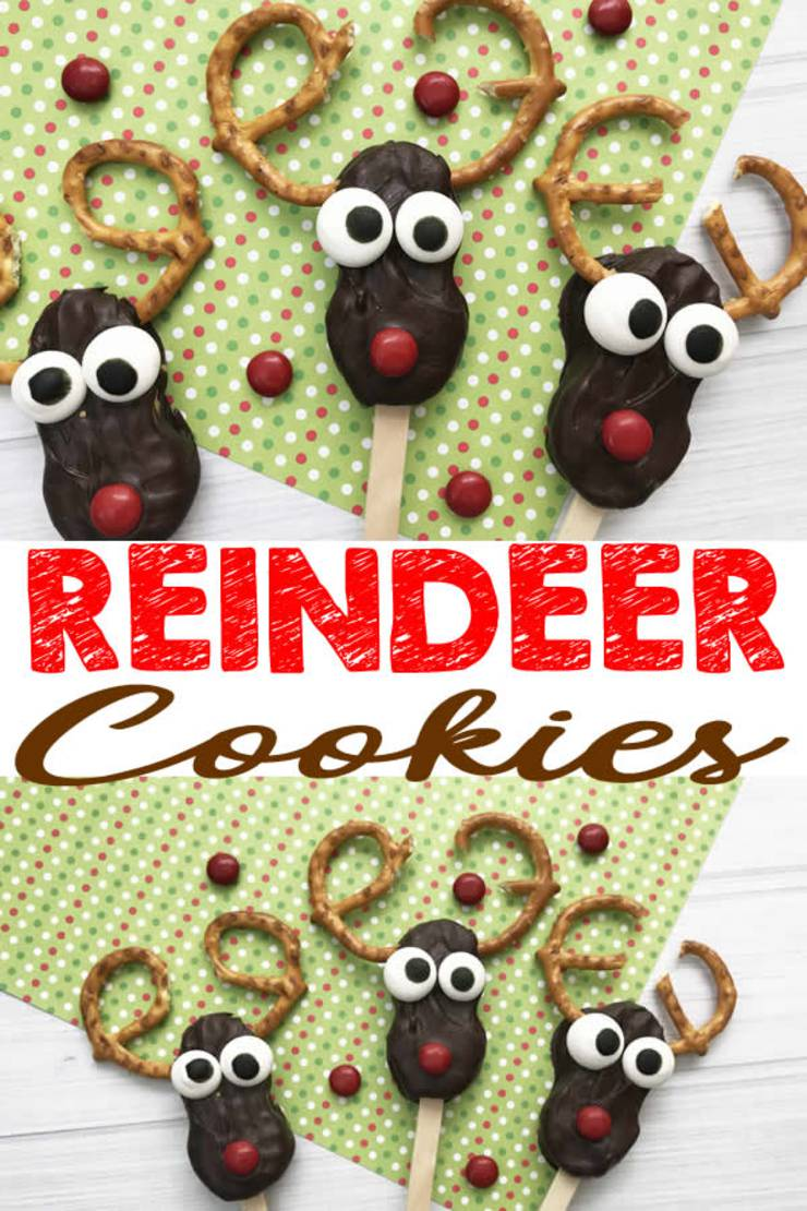 Reindeer Cookies_Easy Nutter Butter Reindeer Cookie Idea-Rudolph The Red Nosed Reindeer Decorated Cookie-Cute & Simple Chocolate-Sweet Treats-Snacks-Holiday Cookies-Kids-Parties