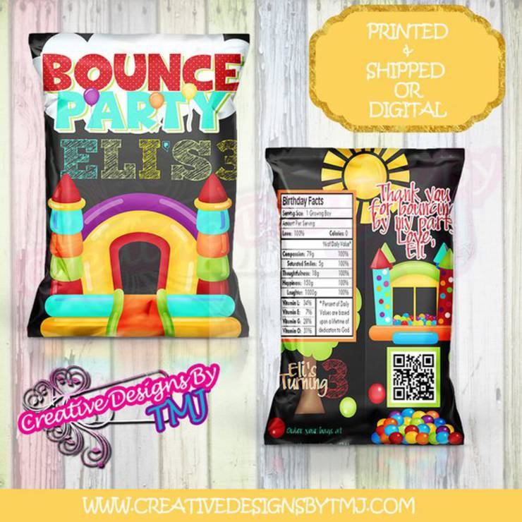 bounce house chip bag favors