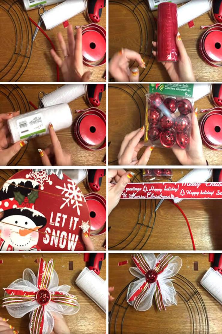 diy dollar store christmas snowman wreath step by step video tutorial