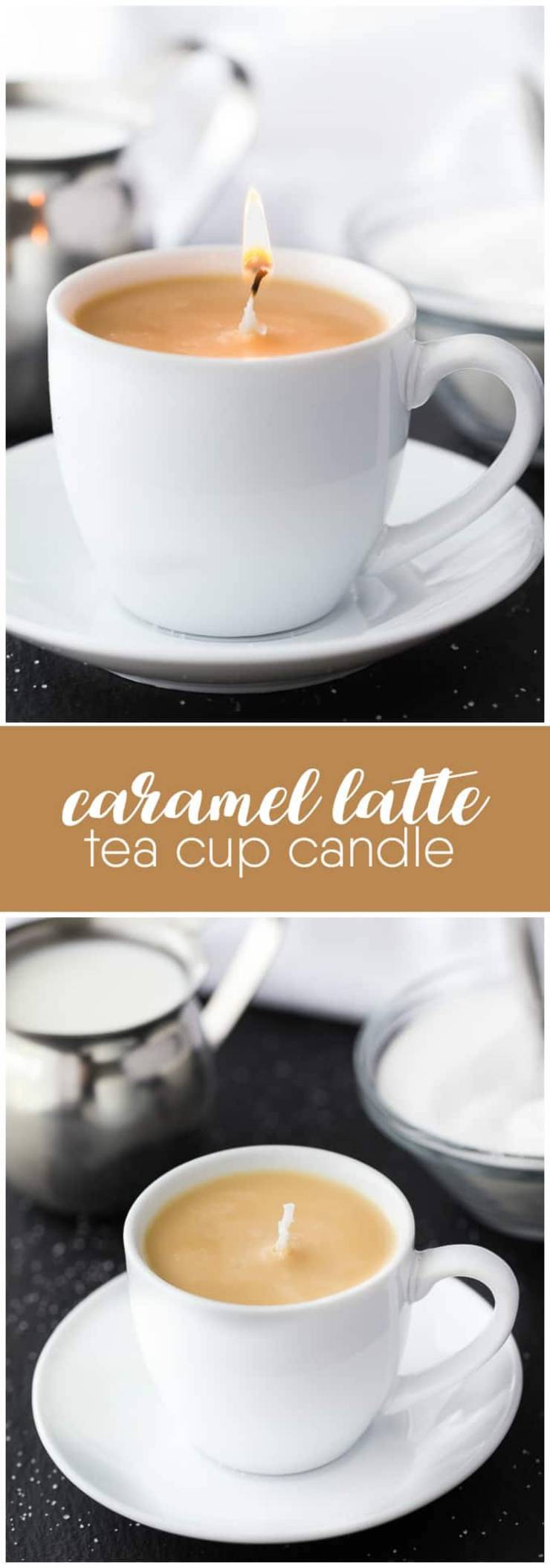 homemade caramel latte candle