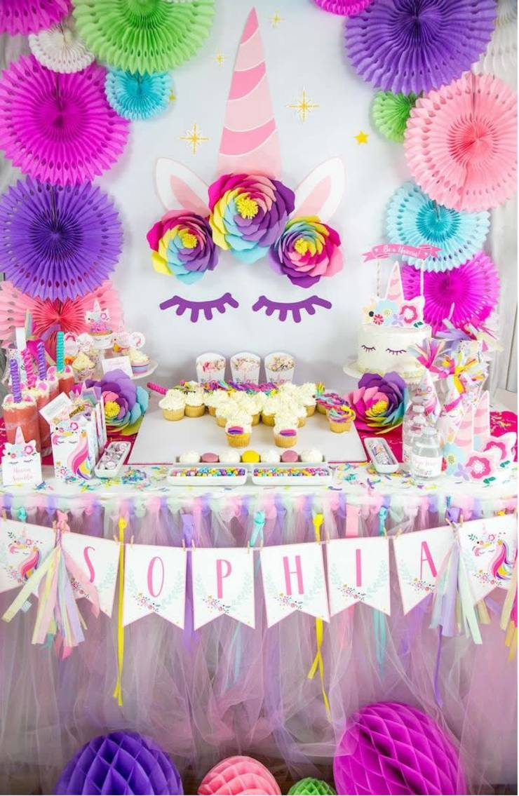 unicorn party ideas dessert table