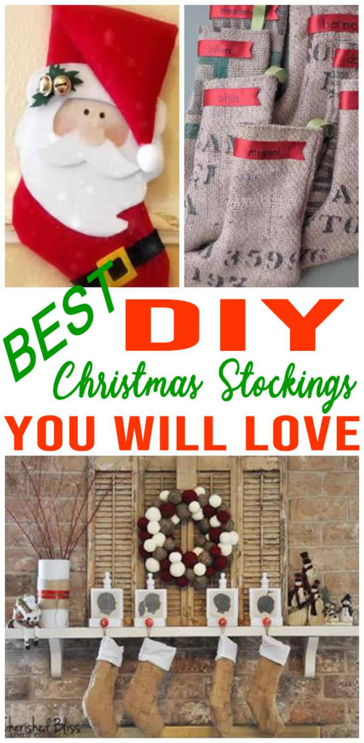 BEST Christmas Stockings! Easy To Make DIY Christmas Stocking Craft Projects – Simple Homemade Ideas – No Sew - Patter - Personalized - Creative Tutorials For Kids & Adults