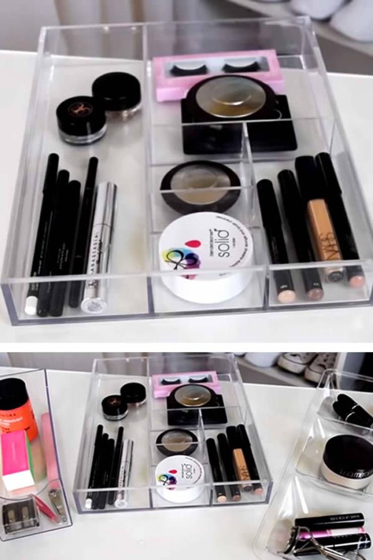 Dollar-Store-Makeup-Organization-Ideas-eyeshadow - mascara - lipstick - beauty product storage - cheap and budget friendly