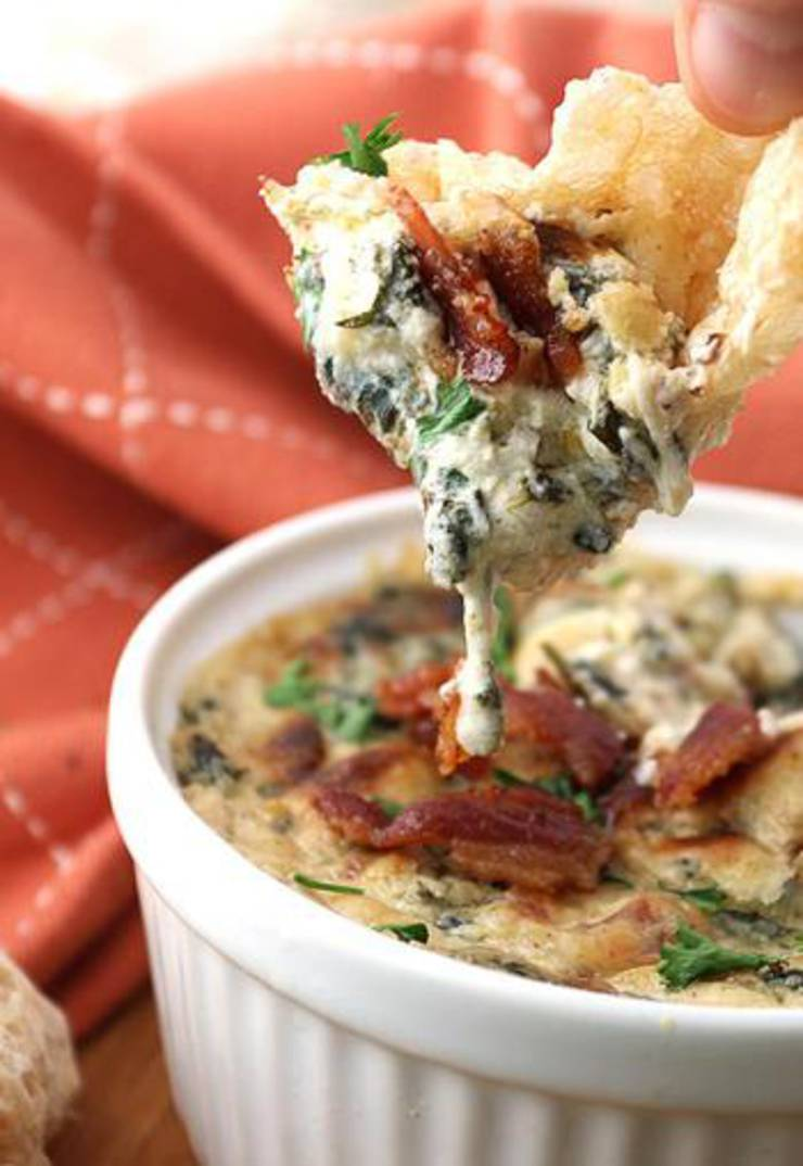 Keto Bacon And Roasted Garlic Spinach Dip