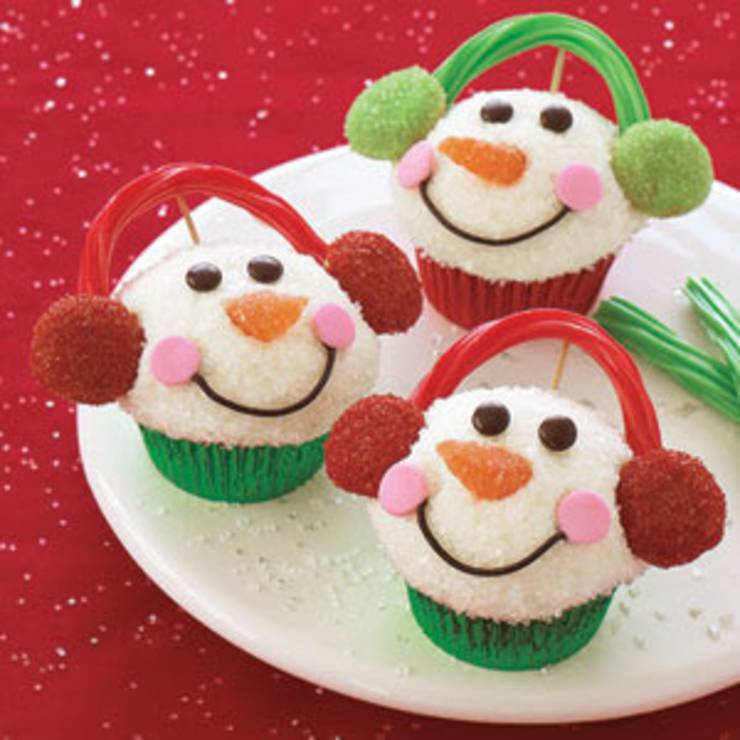 snowman-cupcakes