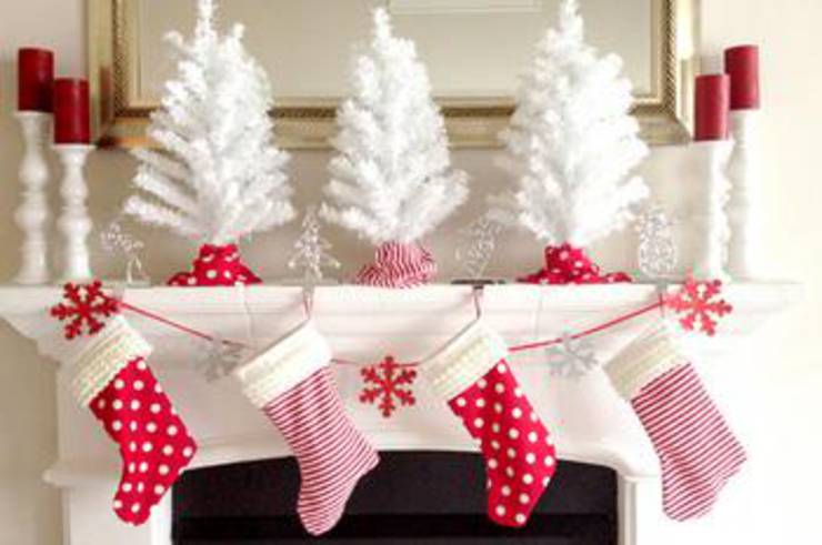 Polka Dotted And Candy Cane Christmas Stockings
