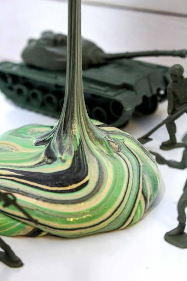 DIY Camo Slime – How To Make Homemade Camouflage Slime – Easy & Fun Recipe For Kids – Fluffy Slime – Party Favors – Crafts – Green and Black Slime