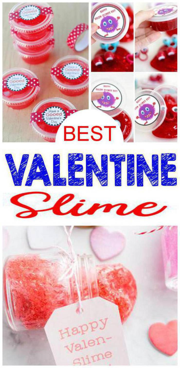 DIY Valentine Slime Recipes – How To Make Homemade Easy Slime Ideas For Kids – Parties – Crafts – Printables - Gifts - Fun - Love - Heart - Containers
